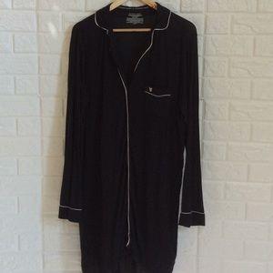 Victorias Secret black knit button front nightgown